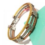 Butterfly with Diamond Sterling Steel Tricolor Bangle