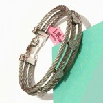 Heart with Diamond Sterling Steel White Bangle