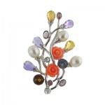Pearl Quartz Gems Coral Flower Brooch