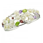 Pearls MOP Gemstones Cluster Bangle
