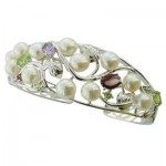 Pearls And Gemstones Cluster Bangle
