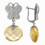 Butterfly Yellow Quartz Earring