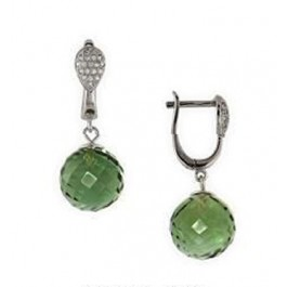 12mm Facet Green Crystal Ball Dangle Earring
