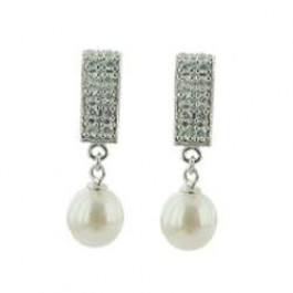 Pearl And Two Line CZ Earring