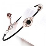 Devil Eye with CZ Sterling Steel Black Bangle