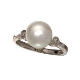 Pearl and Bezel Set CZ  Ring