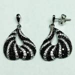Zebra B&W CZ Earring