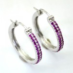 Dazzling Ruby 21mm Hoop Earring