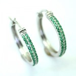 Dazzling Emerald 21mm Hoop Earring