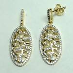 Yellow Gold Vermile 925 Oval Earring