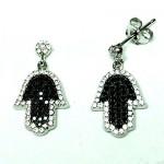 Black & White Hamsa Hand Earring