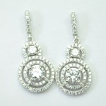 Halo Round CZ Drop Earring