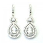 Halo Pear Shape CZ Drop Earring