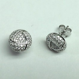 Dome White CZ Stud Earring