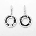 Black & White CZ Circle Earring