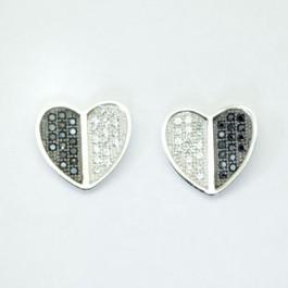 Black & White Heart Earring