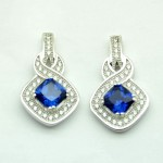 Square Sapphire Blue Earring