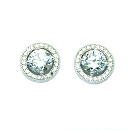 Halo Round CZ Stud Earring