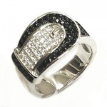 Belt Buckle Black & White CZ Ring