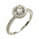 Small Halo Round CZ Ring