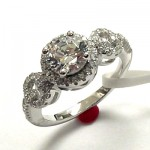 Cubic Zirconia Halo Engagement Ring
