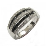 Five Line Black & White CZ Ring
