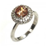Halo Round Citrine CZ Ring