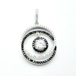 Black & White Double Rings Pendant